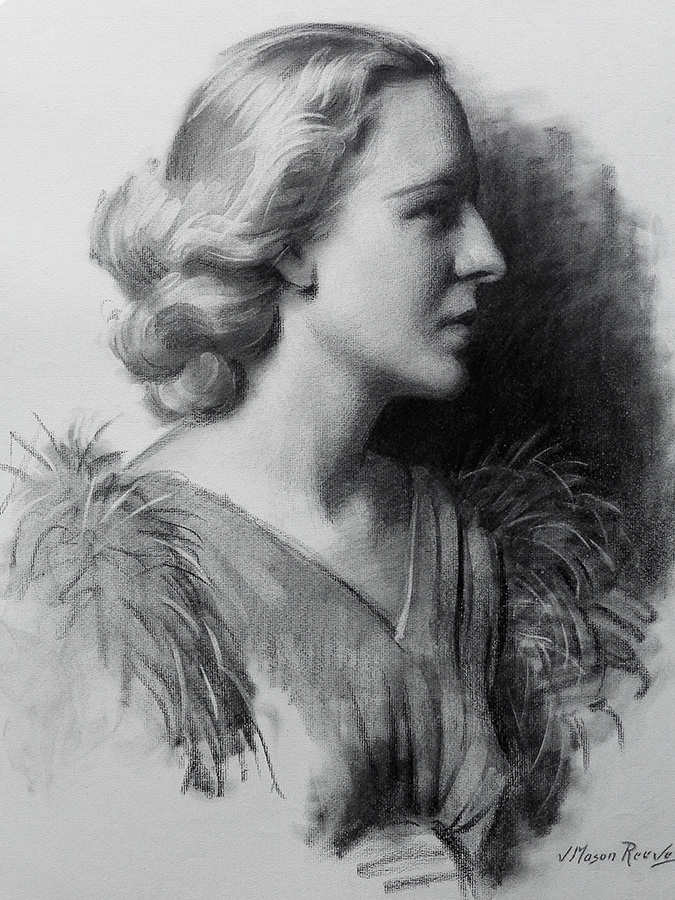 J. Mason Reeves Feathers 20x16 pencil drawing