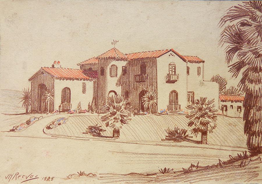 J. Mason Reeves House in Pasadena 7x11 pencil drawing