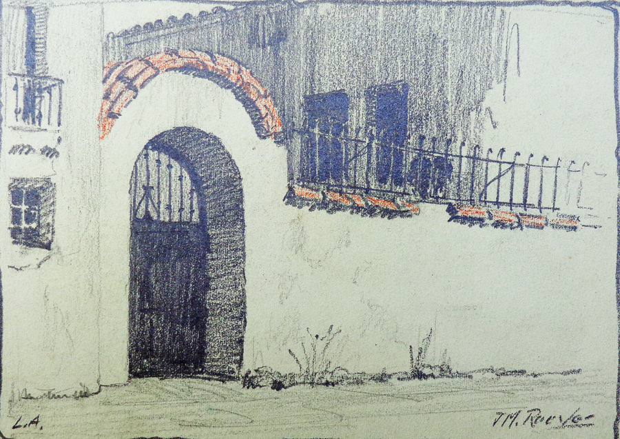 J. Mason Reeves Los Angeles Garden gate 7x10 pencil drawing