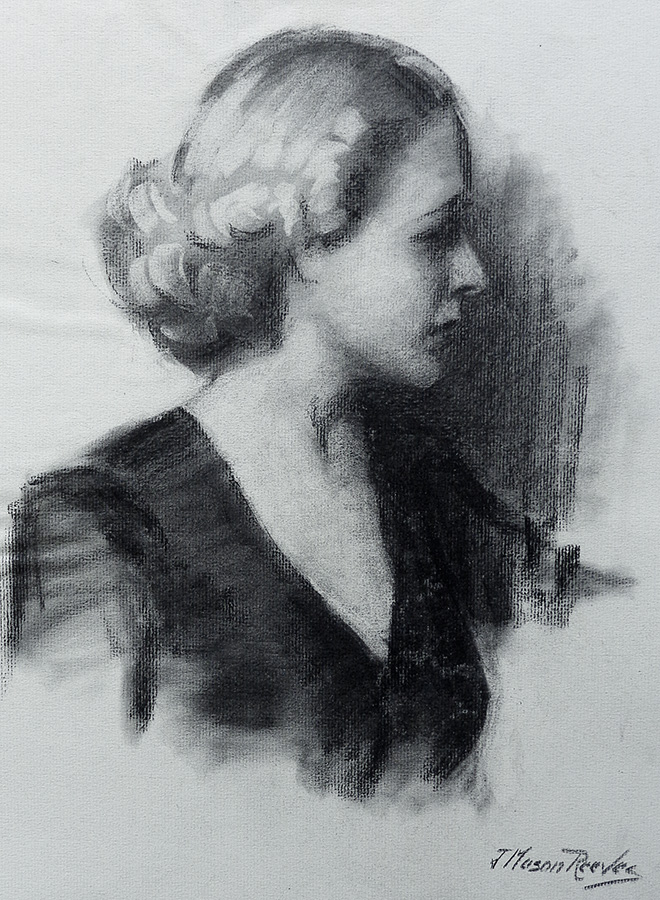 J. Mason Reeves The Blonde 20x16 pencil drawing