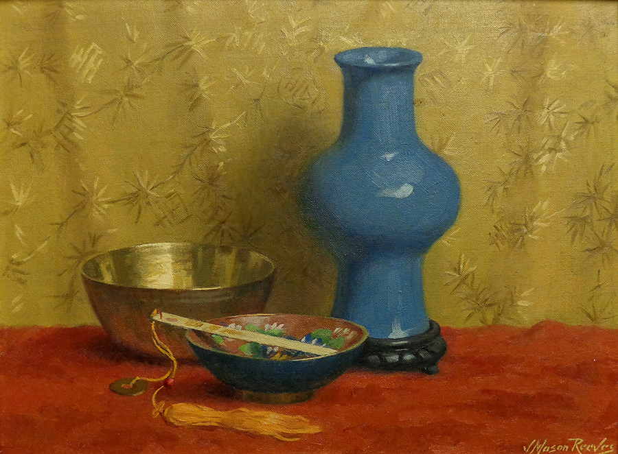 J. Mason Reeves The Blue Vase with Fan 12x16 Oil on Canvas Board