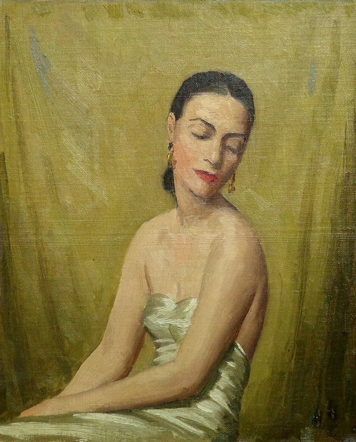 J. Mason Reeves The White Satin Dress 12x10 oil on canvas board