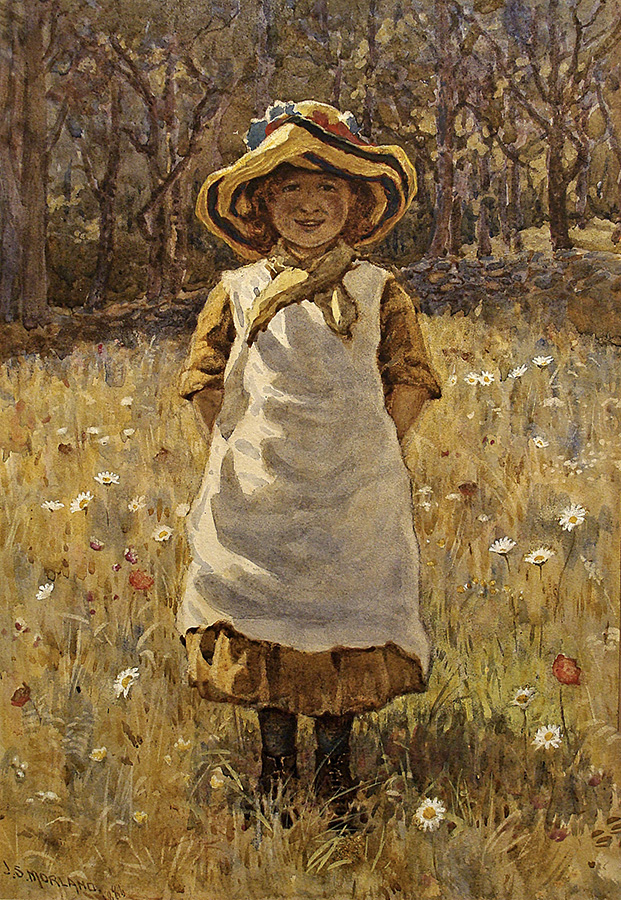 J.S. Moorland Among the Flowers 1886 14x9 Watercolor