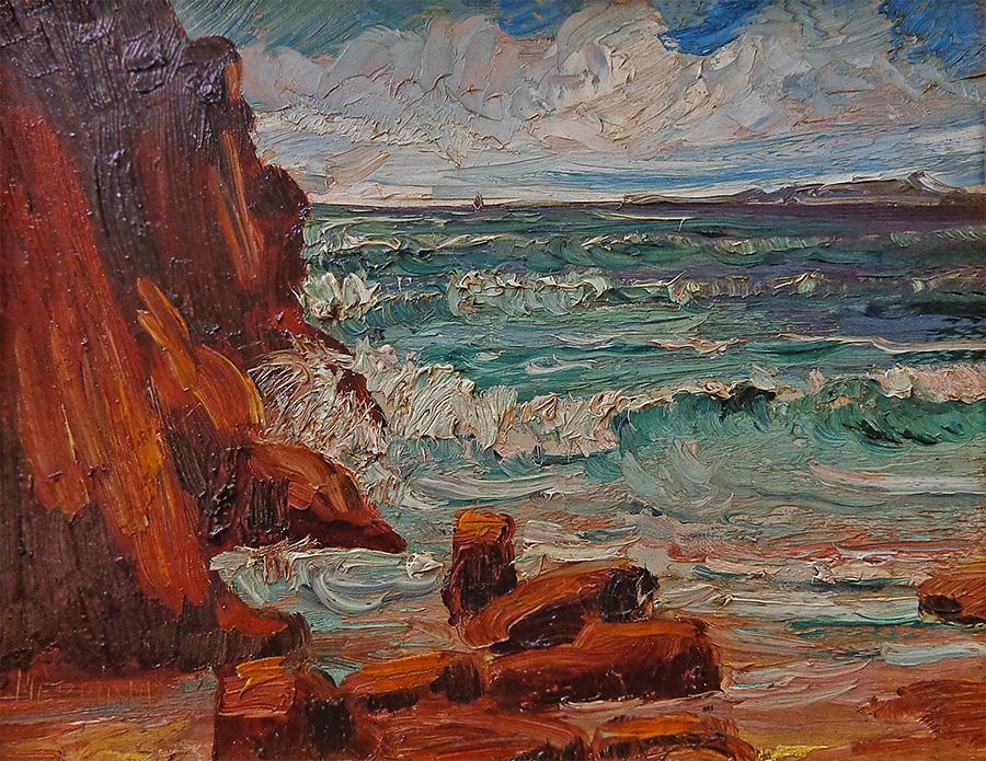James Merriam Laguna Beach with Catalina View 7.5x9.5 Oil on Board