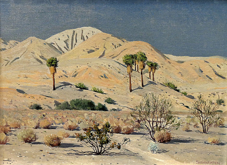 James Swinnerton Desert Palms 12x16 Oil on Canvas