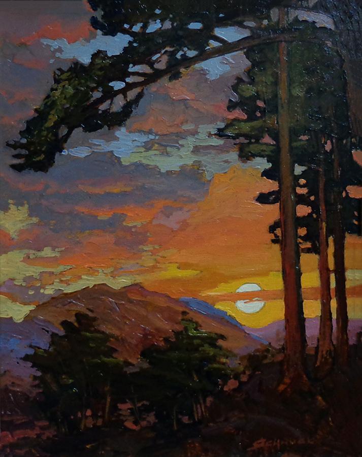 Jan Schmuckal Sunset on the Pass 14x11 Oil on Board