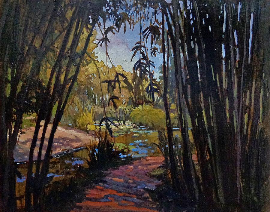 Jan Schmuckal Through the Bamboo 11x14 Oil on Board