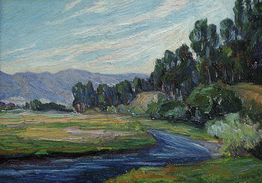 John Dominique Around the River Bend 10x14 Oil on Board