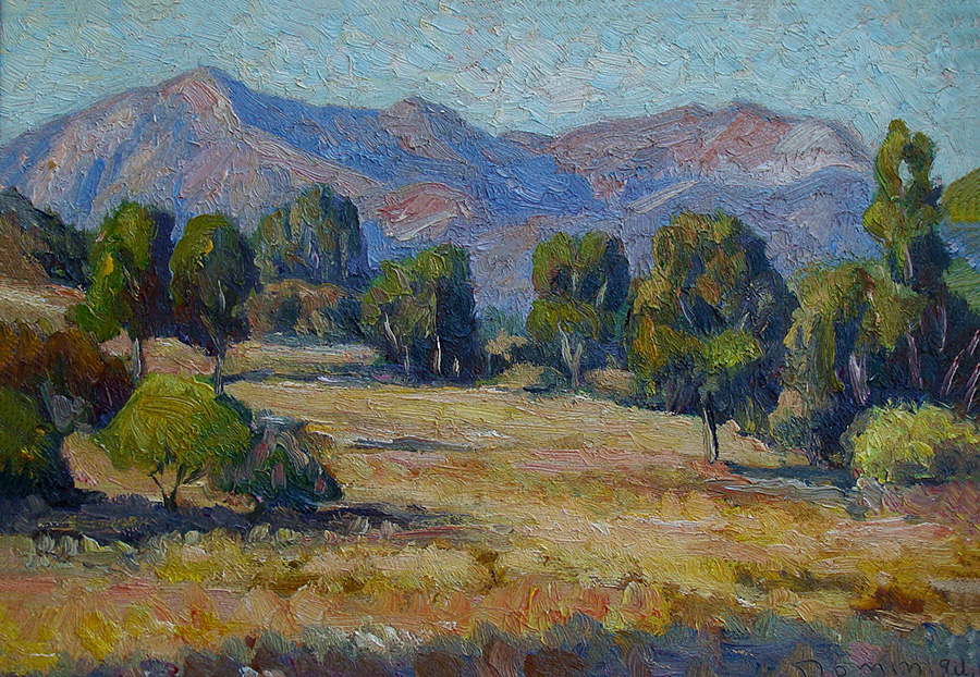 John Dominique Hills near Santa Barbara 10x14 Oil on Board