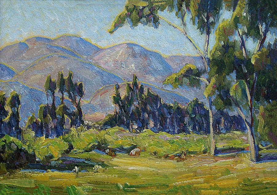 John Dominique Sunlit Hills Santa Barbara 10x14 Oil on Board