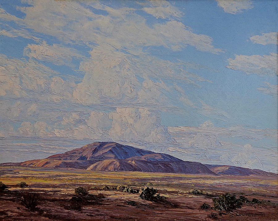 John Hilton Thunderheads near Indio 24x30 Oil on Board