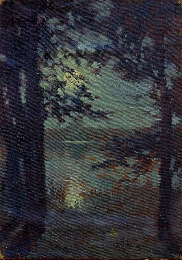 Otto Hake Moonrise 10x7 oil on canvas on board