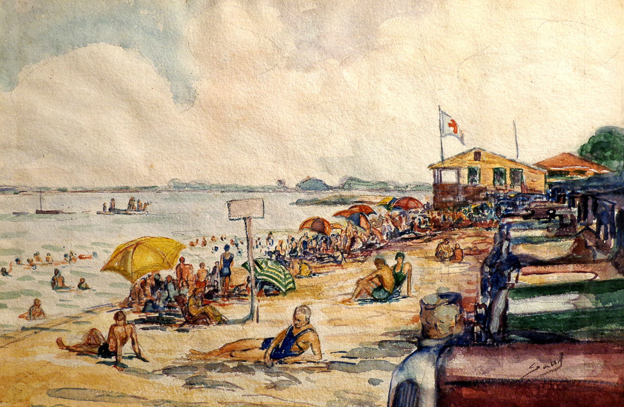 Saul Kovner Sunday at the Beach 12x17 Watercolor