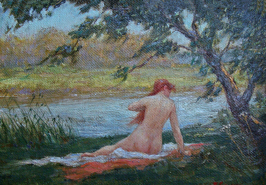 Unknown Artist After the Bath 5x7 Oil on Board