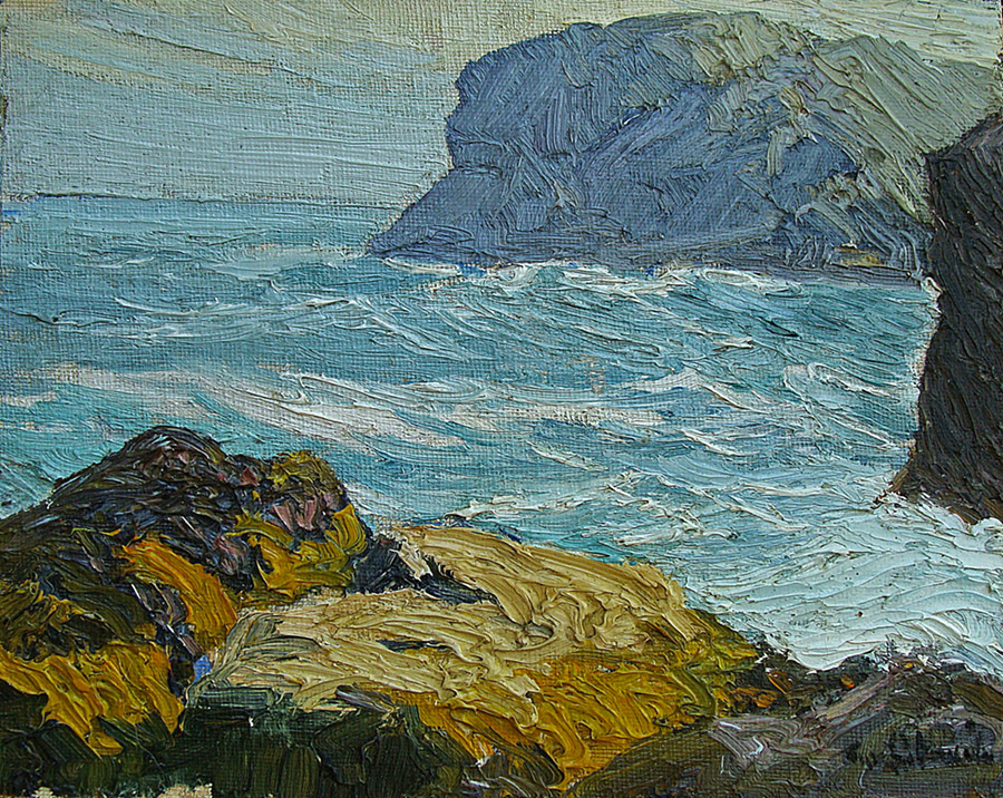 Theophile Schneider Gull Rock, Mohegan Island Light 8x10 Oil on Board