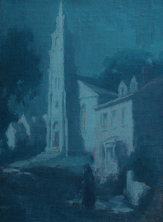 Unknown Artist Midnight Walk 16x12 Oil on Canvas Board