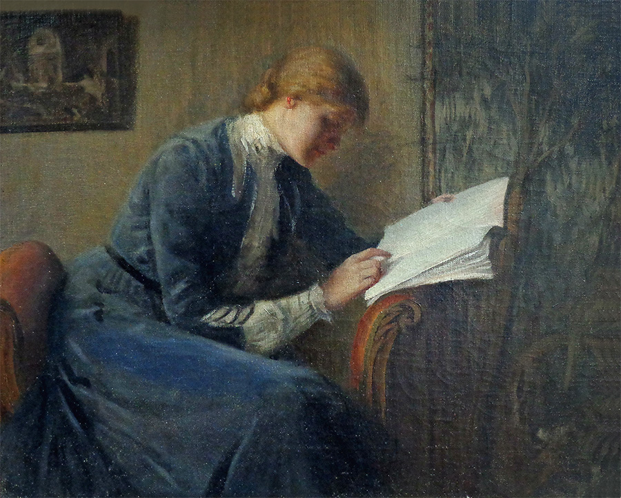 Unknown Artist Woman Reading 16x20 Oil on Canvas