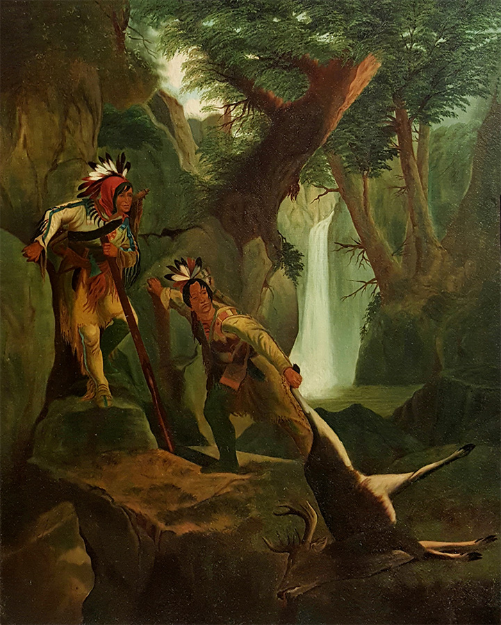 Unknown Indians after a Hunt (mid 19th century) Oil on Canvas