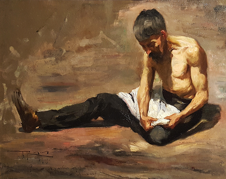 Unknown Peasant Study 1907 16x20 Oil on Board