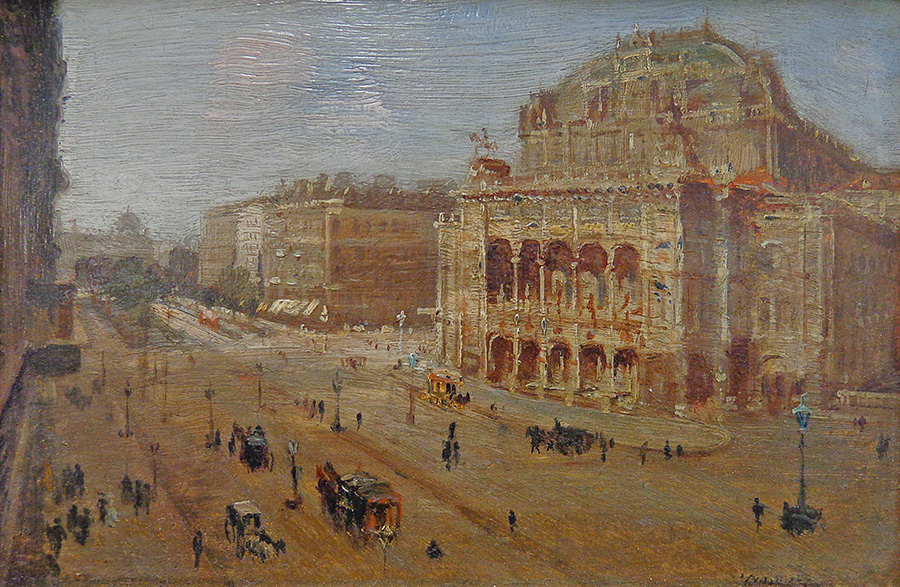 Unknown Artist Oil Painting of Vienna Opera House