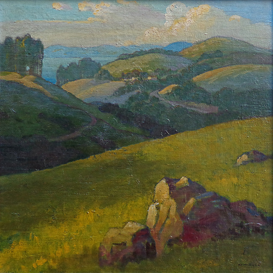 William H. Bull California Rolling Hills 14x14 Oil on Canvas Board