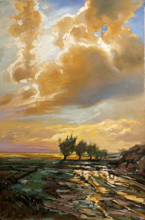 A Calpacol, Dramatic Sunset, 17x11 Oil on Board