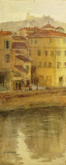 Ada Francis Lathrop Along the Canal 11x5 Watercolor