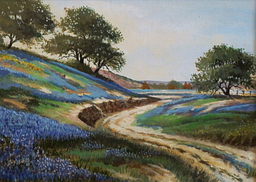 Bluebonnets along the Road by Al Fierros - Oil Painting 10x14