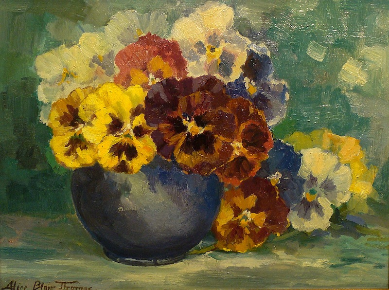 Alice Blair Thomas Pansies 9x12 Oil on Board