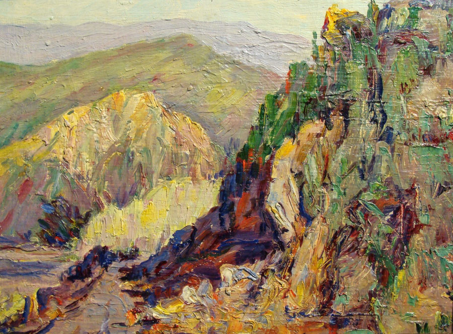 Alta West Salisbury Colorful Hillside 9x12 Oil on Canvas Board
