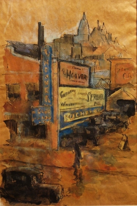 San Francisco Street Scene by Arthur Durston 17x22 Watercolor