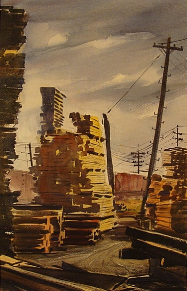 The Lumberyard by Barse Miller 20x13 Watercolor