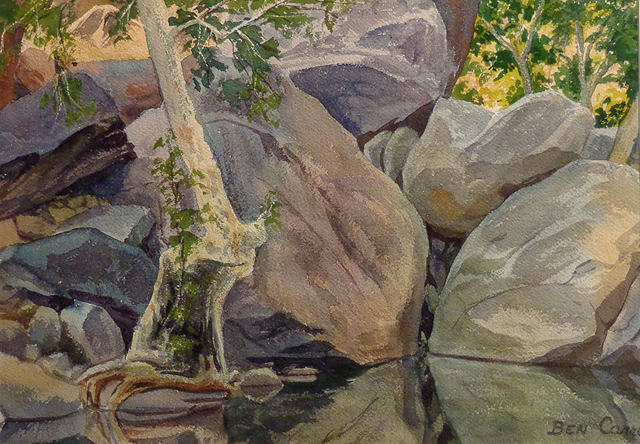Ben Carre Still Waters Tahquitz Canyon Palm Springs 10x15 Watercolor