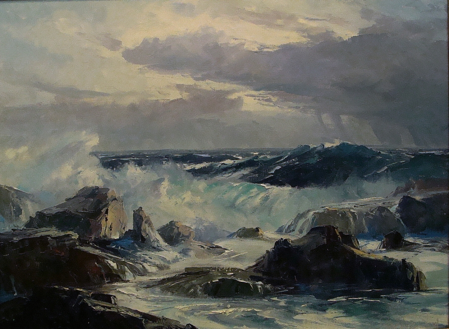 Bennett Bradbury Laguna Rocks and Surf 20x24 Oil on Canvas