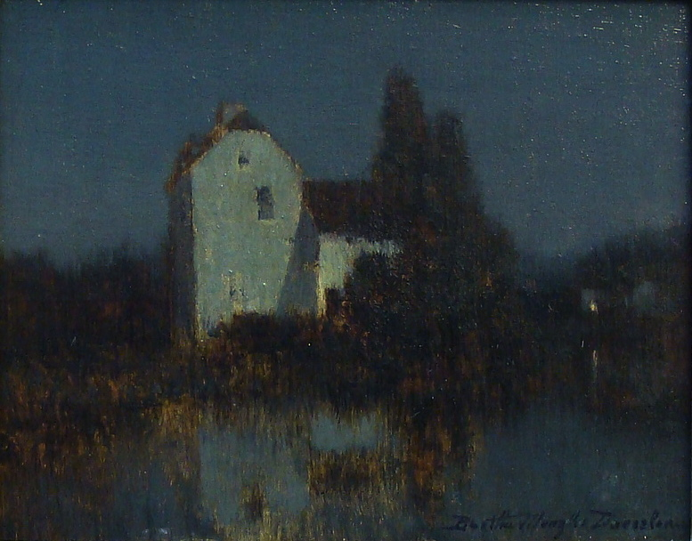 Bertha Menzler Dressler Moonlight 5.5x7 Oil on Board
