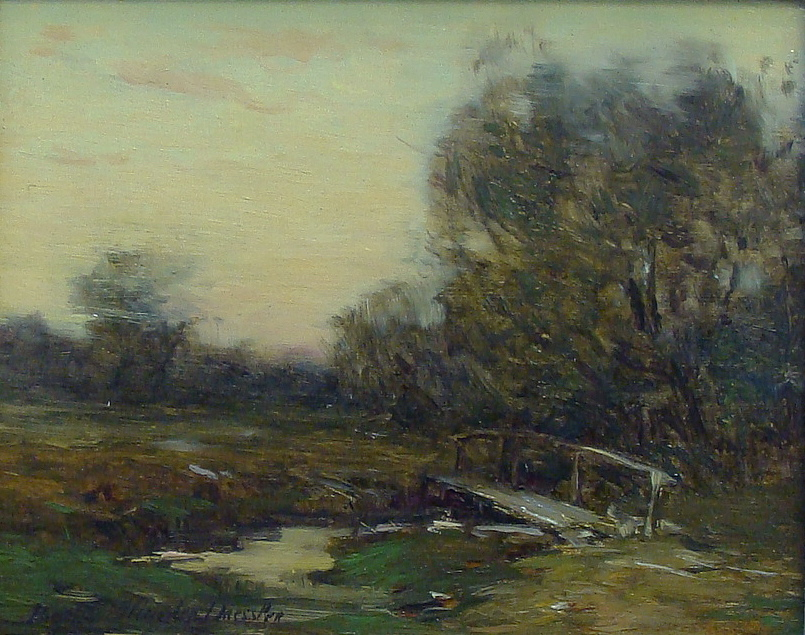 Bertha Menzler Dressler The Footbridge 5.5x7 Oil on Board