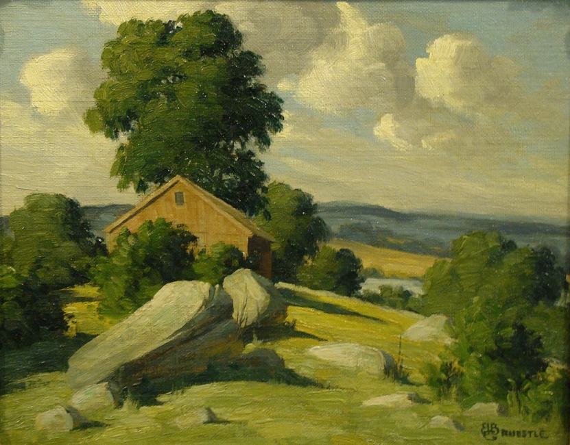 Bertram George Bruestle Hilltop Home 8x10 Oil on Board
