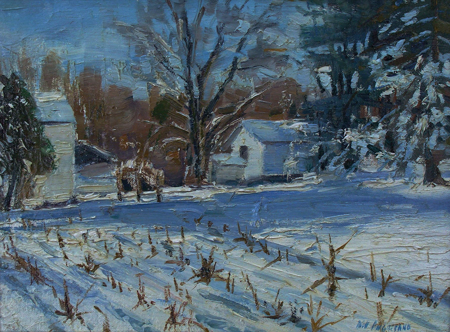Bill Agresano Morning First Snow 9x12 Oil on Board
