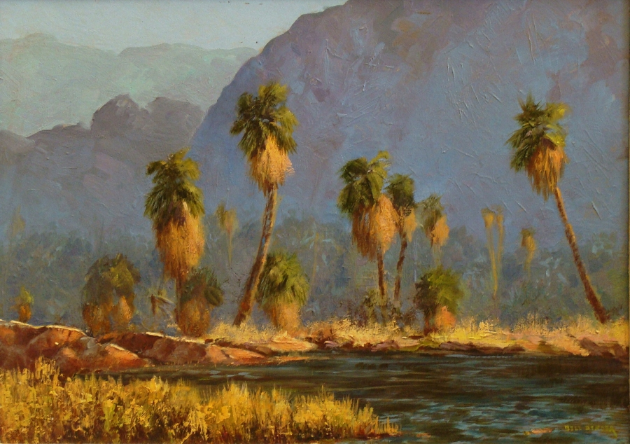 Bill Bender Fan Palms, Palm Springs 16x22 Oil on Board