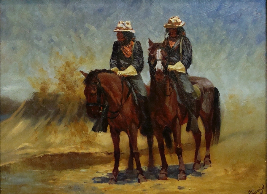 Bud Bradshaw Indian Scouts Eyes for the Pony Soldiers 12x16 Oil on Board