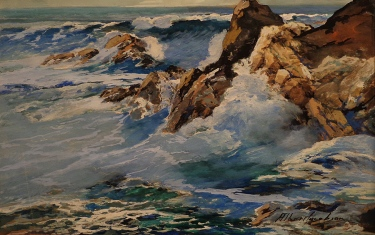 Albert Jacobson California Crashing Surf 12x18 Mixed Media on Board