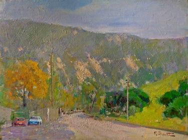 Felice Hrovat Road in Laguna Canyon 12x16 oil on board