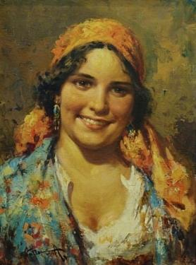 A Villone A Gypsy Girl 16x12 Oil