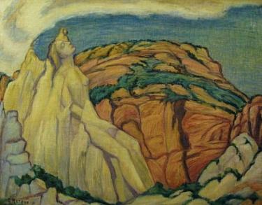 Adele Watson Anthropomorphic Landscape 27x34 Oil