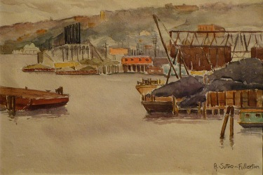 Adolphine Sutro Fullerton Docks San Francisco 7x10 Watercolor
