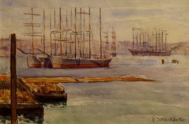 Adolphine Sutro Fullerton Tall Ships San Francisco Harbour 7x10 Watercolor