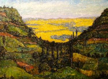 Unknown Artist Fauvist Landscape 22x27 Oil