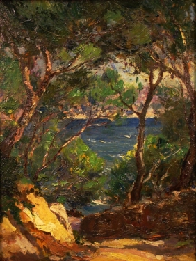 Ferdinand Salkin Mediterranean Coast 14x11 Oil on Board