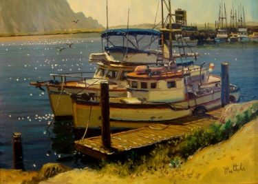 Filastro Mottola Boats at Morro Rock 9x12 Oil