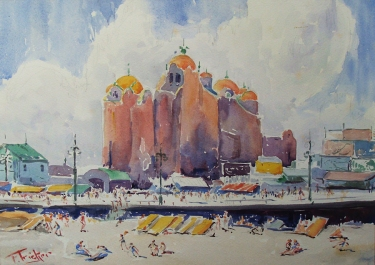 Florence Tricker Atlantic City 10x14 Watercolor